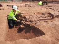 Excavating a possible hypocaust of Roman building 1 (underfloor central heating system)