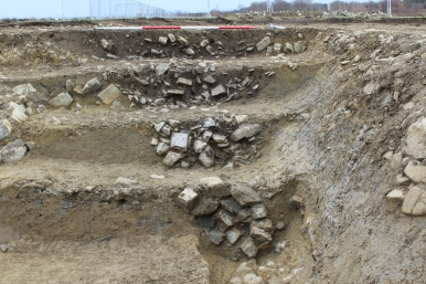 Revetment at entrance of Bronze Age enclosure