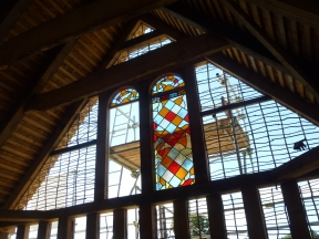 Stained glass in the Saxon feasting hall